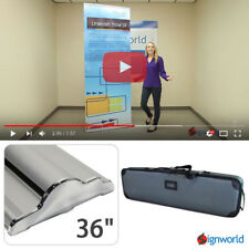 """Retractable Roll Up Banner Stand Height Adjustable Trade Show Display HD 36"""""""