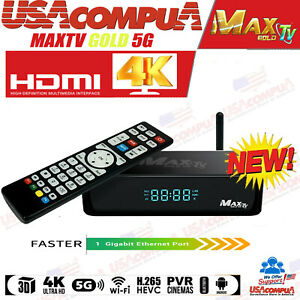 MAX TV GOLD MAXTV 5G 4K ULTRA-HD IPTV BOX+ANDROID 7.1 QUAD-CORE 64 BIT 2GB/ 8GB