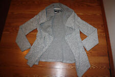 NWT Womens BNCI by BLANC NOIR Woven Gray White Sweater Cardigan XL
