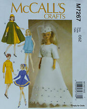"""**SALE** McCall's 7267 DOLL CLOTHES Sewing PATTERN for 11-1/2"""" BARBIE DOLLS"""