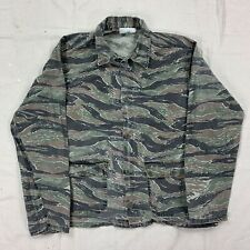 Vtg Tiger Stripe Camo Two Pocket Field Hunting Shirt Jacket Cotton Large