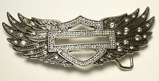Harley Davidson Womens Silver Highway B&S with Crystal Embellished Wings Buckle
