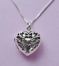 Love Heart Filigree Locket Necklace Pendant & Chain STERLING SILVER 925