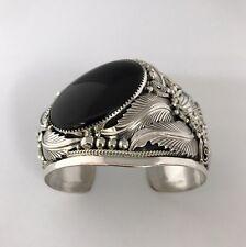 Native American Sterling Silver Navajo Handmade Black Onyx Leaf Cuff Bracelet