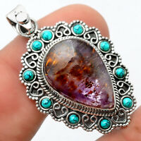 Cacoxenite Super 7 Mineral and Turquoise 925 Silver Pendant Jewelry AP64630