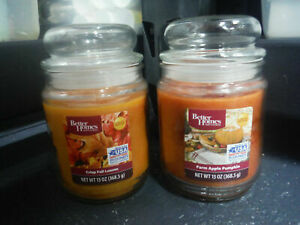 NEW LOT 2 Better Homes and Garden 13 oz. Jar Candles FALL LEAVES, APPLE PUMPKIN