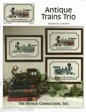 Antique Trains Trio Linda Bird Design Connection #085 Cross Stitch Pattern NEW