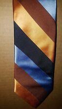 Ike Behar Black Gold Slate Blue Diagonal Stripes Necktie 100% Silk Made in USA