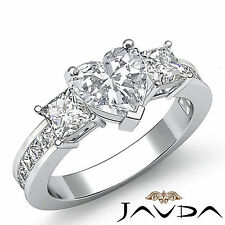 Channel Set 3 Stone Heart Diamond Engagement Ring GIA H SI1 14k White Gold 2.1ct