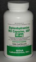 SDA Diphenhydramine 50mg Capsules Sleep Aid & Antihistamine 1000ct -Exp 06-2021
