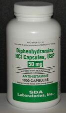 SDA Laboratories Diphenhydramine 50mg Capsules (Sleep Aid & Antihistamine)1000ct