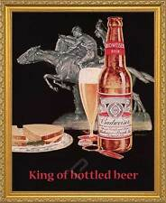 BUDWEISER, King of Bottled Beer. Framed Vintage AD Poster Reproduction. Gold