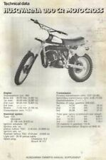 20703s Husqvarna 390 CR Motocross Specifications & Technical Data Sheet 1979