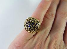 1950s Vivid Blue Bombe 18K Gold Enamel Ring Handmade Filigree Cocktail