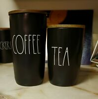 "Rae Dunn ""COFFEE ""&""TEA"" Ceramic Cellar Set with Wooden Lid Black"