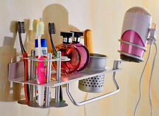 Aluminum Toothbrush Hair Dryer Bathroom Wall Holder Storage Rack Silver Color US