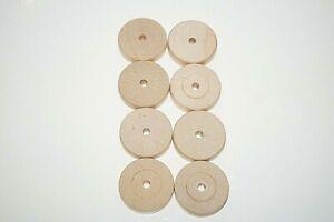 "LOT 8 Vintage 1 3/4"" Tinker Toy Wood 1 Hole Spools Wheels Clean Vtg Wooden Toys"