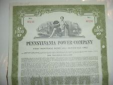 1962 Pennsylvania Power Company Bond Stock Certificate First Energy