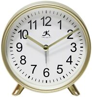Gold Tabletop Matte Finish Small Round Analog Alarm Clock 6 inch Easy-to-Set