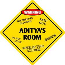 "*Aluminum* Aditya's Room Kids Room Door 12""x12""  Metal Novelty Sign"