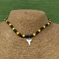 Real Mako Shark Tooth Pendant Surfer Necklace for Men | Wood Beads