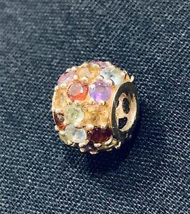 10k Yellow Gold Multi Gemstone Scroll Ball Pendant Charm