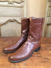 VTG Justin Flat Motorcycle Slip On Western Boots In Brown Mens Size 10 Narrow