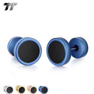 TT Surgical steel Round Fake Ear Plug Earrings 4 Colours 6-12mm (BE281)2021 NEW