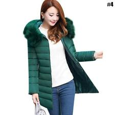 Women Winter Warm Fur Collar Hooded Long Coat Jacket Slim Parka Outwear Coat New