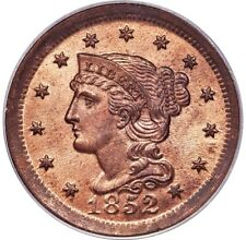 1852 BRAIDED HAIR LARGE CENT 1C N-22, N-9 PCGS MS65 RD RED, OGH, PG = $6,500!