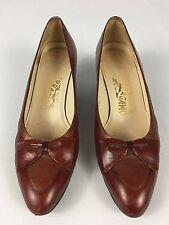 Women's Vintage SALVATORE FERRAGAMO Red Bow Leather Low Heel Classic Pumps 7AAA