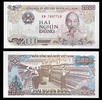VIETNAM 2000 (2,000) Dong, 1988, P-107, Ho Chi Minh/Textile, UNC World Currency