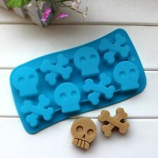Skull Bone Cross Silicone Soap mold Candy Chocolate Scary Dead mould Halloween