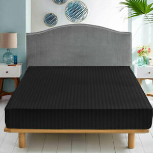 Extra Deep Elastic Fitted Sheet Black Stripe Bed Sheet For Mattress Double King