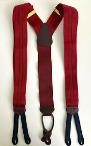 Trafalgar England Suspenders Red Blue Pin Stripe Brown Leather Suiting Business