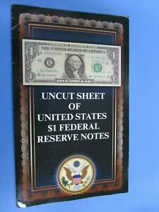 USA 2009   Uncut Sheet of 4  USA $1 Notes UNC in Collectors Folder.