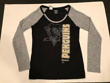 Reebok Pittsburgh Penguins Womens T-shirt Long Sleeve Large euc