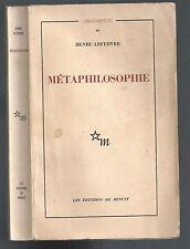 HENRI LEFEBVRE MÉTAPHILOSOPHIE PROLÉGOMÉNES  1965 LES ÉDITIONS DE MINUIT