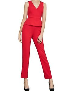 NWT $268 BCBG MAXAZRIA Cerys Peplum Jumpsuit Lipstick Red 8