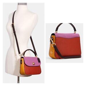 NWT ($350) Coach Color Block Marlie Top Handle Crossbody Bag Purse