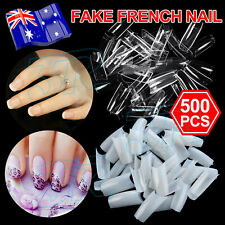 500Pcs Fake French Nail Tips White Clear Stiletto False Gel Pointy Art Acrylic