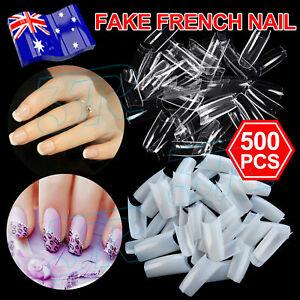 500Pcs Fake Nails French Tips White Clear Stiletto False Gel Pointy Art Acrylic
