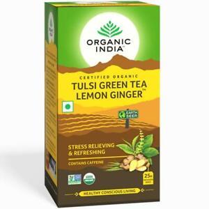 Certified Organic India Tulsi Green Tea Lemon Ginger-25 Tea bags-express ship