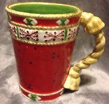 Christmas Mug Studio Nova 3D Handle Woodland Holly Santa Red Green 8 Oz Cocoa