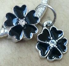 Black Enamel Crystal Daisy Dangle CZ Flower Bead European Charms fit Bracelet