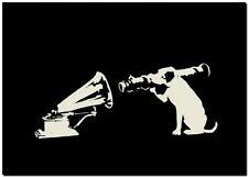 "BANKSY STREET ART CANVAS PRINT HMV Gramophone rocket Dog 8""X 12"" stencil poster"