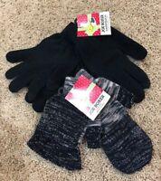 NWT Girls Black Joe Boxer Texting Flip Top Gloves 3 Pair