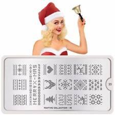 Moyou London Stamping Schablonen Plate Weihnachten Schleife Stern Festive 35