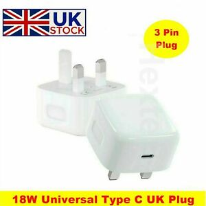 UK Plug PD 18W USB-C Type C Fast Wall Charger Adapter For iPhone 12 Pro Max Mini
