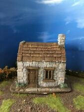 28MM PMC GAMES ME82 (PAINTED) RUSTIC STONE BUILT COTTAGE SLATE ROOF - MEDIEVAL